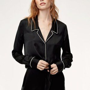 Aritzia Wilfred Satin Tie Front Long Sleeve Blouse Sz/ L